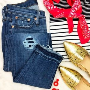 Medium Wash Distressed Toothpick Skinny Jeans
